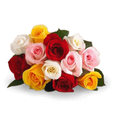 Bouquet de Roses assortits en Juncos (Joncs)