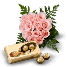 Pink Roses and Chocolates in Rhode Island
