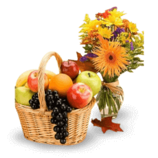 Basket of fruit and spring flowers in Tabarre