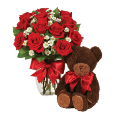 Red roses and hugs from a Teddy Bear in Rio Grande do Sul