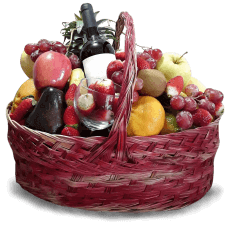 Basket with Fruits & Wine ở Carrefour