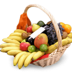 Basket of fruit and wine in La Paz (Peace)