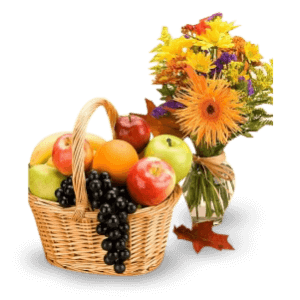 Basket of fruit and spring flowers in Heredia