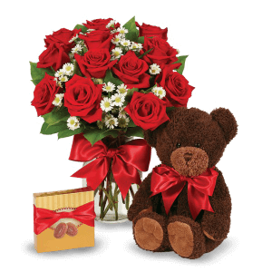 Red roses, chocolates and hugs from a Teddy Bear in Juana Díaz
