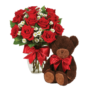 Red roses and hugs from a Teddy Bear in Rio Grande do Norte