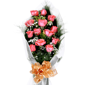 Bouquet di rose rosa in Haina