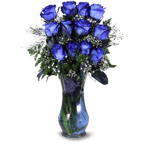 Blaue Rosen in Carrefour
