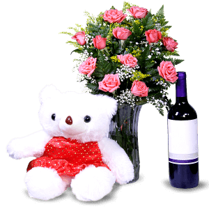 Pink Roses, wine and teddy bear in Punta Cana