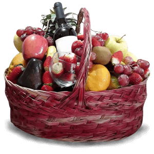 Basket with Fruits & Wine in Port-au-Prince